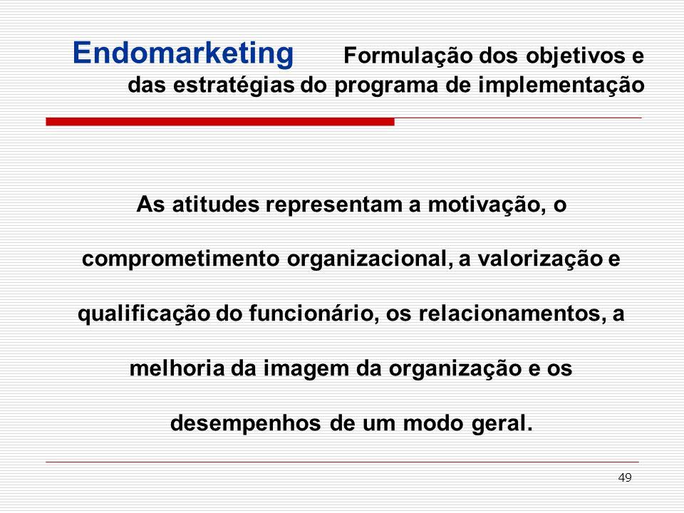 49 As atitudes representam a motivação, o comprometimento organizacional, a valorização e qualificação do funcionário, os relacionamentos, a melhoria