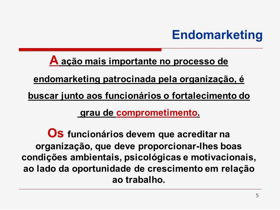5 Endomarketing A ação mais importante no processo de endomarketing patrocinada pela organização, é buscar junto aos funcionários o fortalecimento do