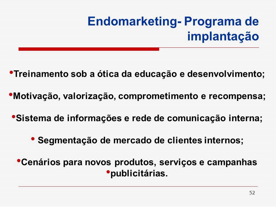 52 Endomarketing- Programa de implantação Treinamento sob a ótica da educação e desenvolvimento; Motivação, valorização, comprometimento e recompensa;