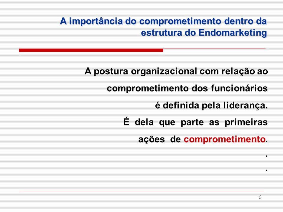 6 A postura organizacional com relação ao comprometimento dos funcionários é definida pela liderança. É dela que parte as primeiras ações de compromet