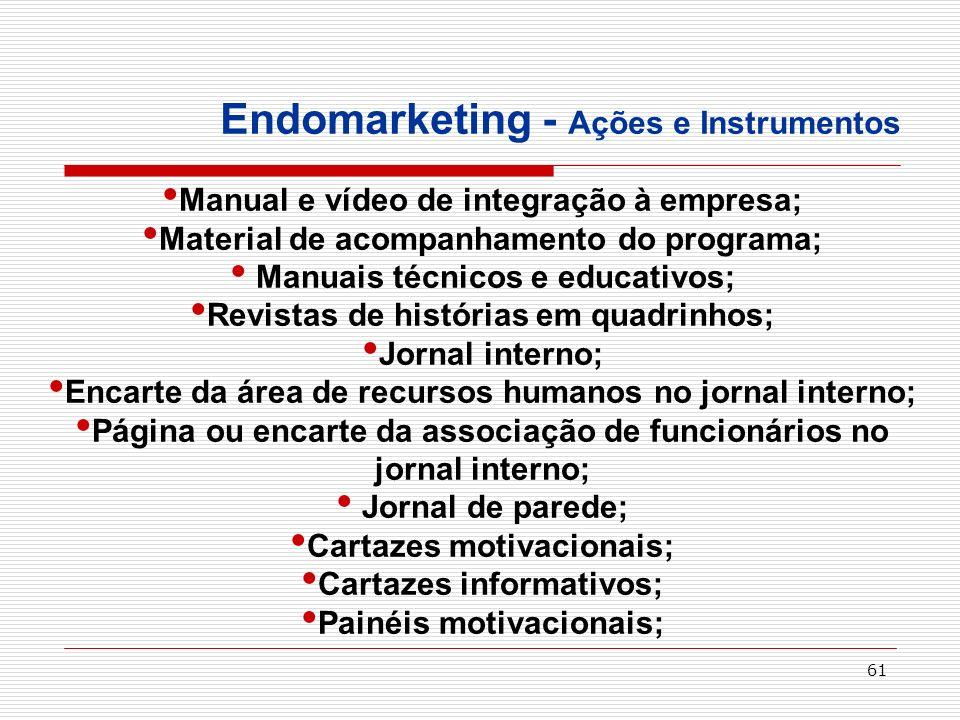 61 Endomarketing - Ações e Instrumentos Manual e vídeo de integração à empresa; Material de acompanhamento do programa; Manuais técnicos e educativos;