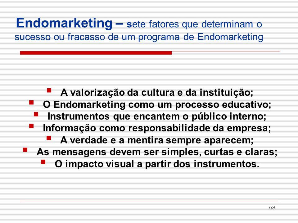 68 Endomarketing – sete fatores que determinam o sucesso ou fracasso de um programa de Endomarketing A valorização da cultura e da instituição; O Endo