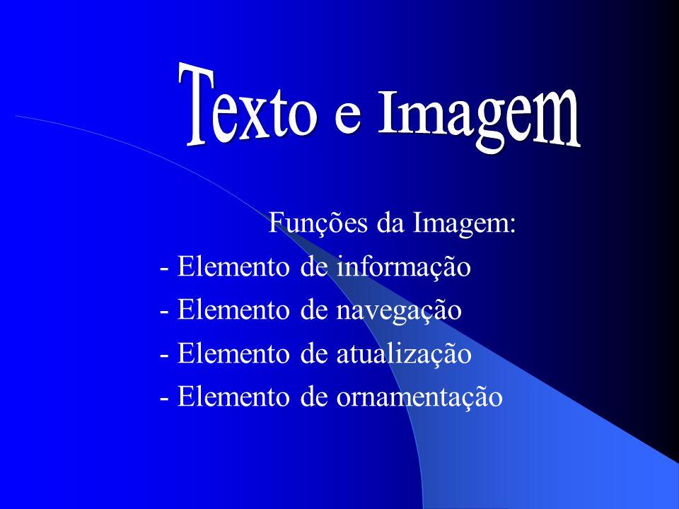 Funções da Imagem: - Elemento de informação - Elemento de navegação - Elemento de atualização - Elemento de ornamentação