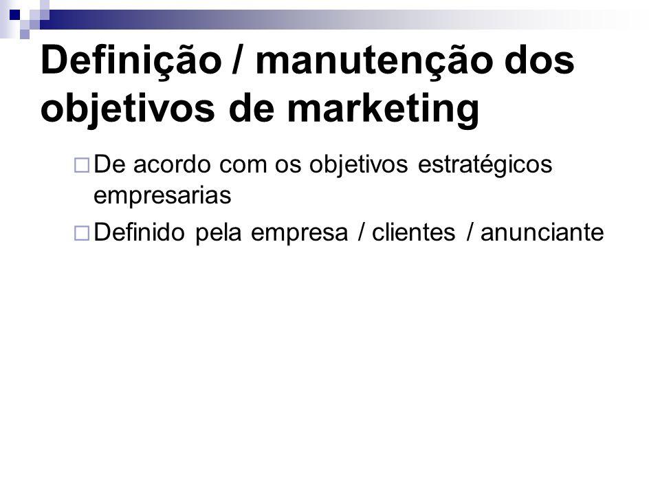 Definição / manutenção dos objetivos de marketing De acordo com os objetivos estratégicos empresarias Definido pela empresa / clientes / anunciante