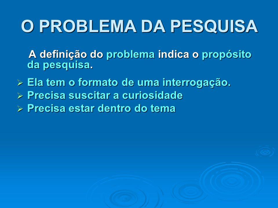 O PROBLEMA DA PESQUISA A definição do problema indica o propósito da pesquisa. A definição do problema indica o propósito da pesquisa. Ela tem o forma