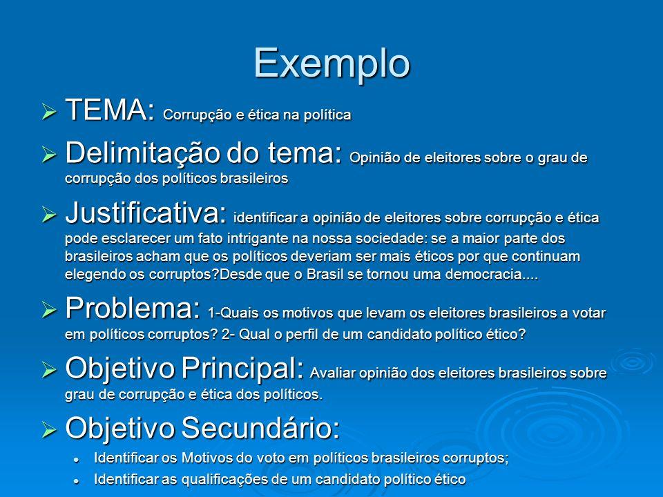 Exemplo TEMA: Corrupção e ética na política TEMA: Corrupção e ética na política Delimitação do tema: Opinião de eleitores sobre o grau de corrupção do