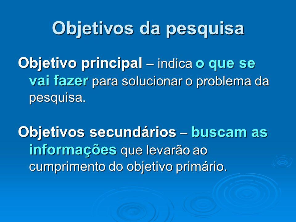 Objetivos da pesquisa Objetivo principal – indica o que se vai fazer para solucionar o problema da pesquisa. Objetivos secundários – buscam as informa