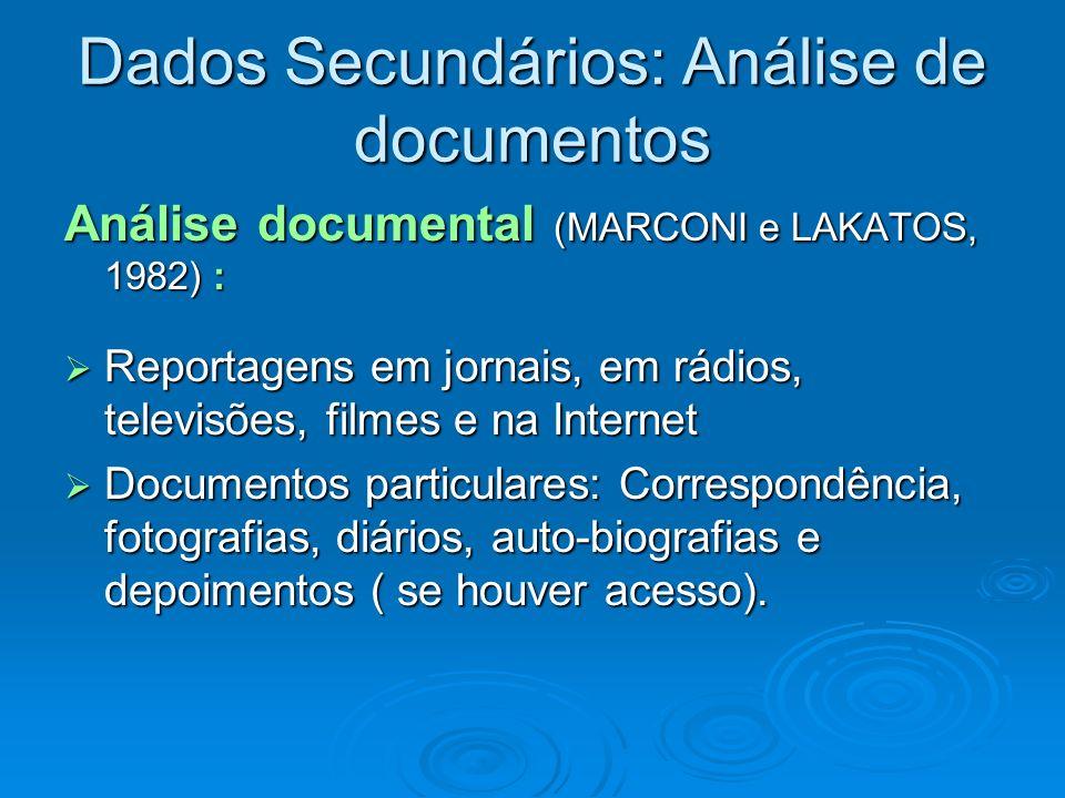 Dados Secundários: Análise de documentos Análise documental (MARCONI e LAKATOS, 1982) : Reportagens em jornais, em rádios, televisões, filmes e na Int