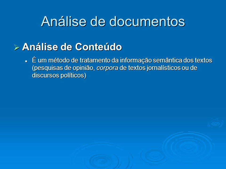 Análise de documentos Análise de Conteúdo Análise de Conteúdo É um método de tratamento da informação semântica dos textos (pesquisas de opinião, corp