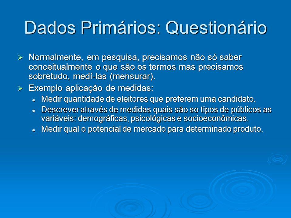 Dados Primários: Questionário Normalmente, em pesquisa, precisamos não só saber conceitualmente o que são os termos mas precisamos sobretudo, medí-las