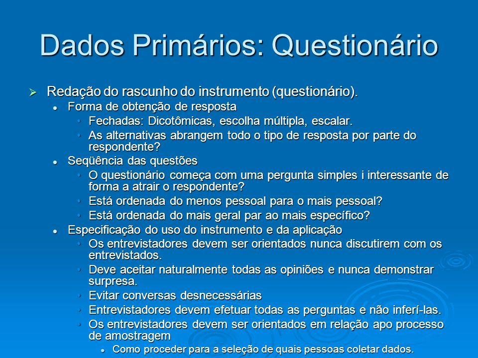 Dados Primários: Questionário Redação do rascunho do instrumento (questionário). Redação do rascunho do instrumento (questionário). Forma de obtenção