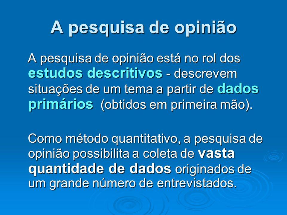 A pesquisa de opinião A pesquisa de opinião está no rol dos estudos descritivos - descrevem situações de um tema a partir de dados primários (obtidos