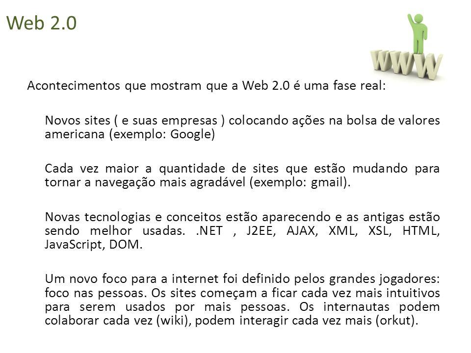 Acontecimentos que mostram que a Web 2.0 é uma fase real: Novos sites ( e suas empresas ) colocando ações na bolsa de valores americana (exemplo: Goog