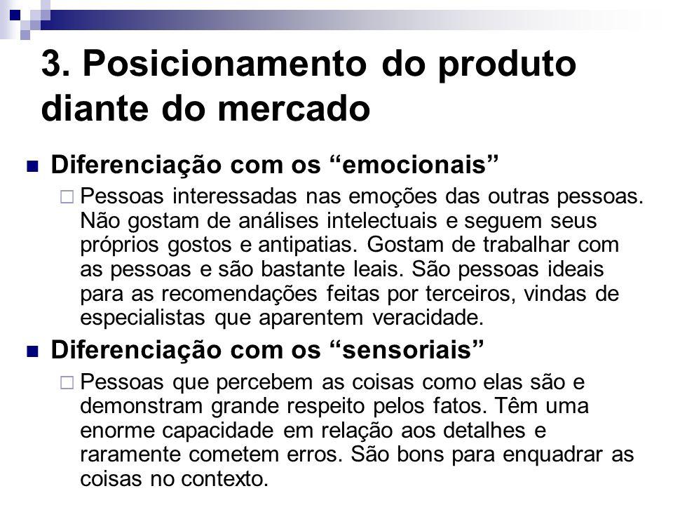 3. Posicionamento do produto diante do mercado Diferenciação com os emocionais Pessoas interessadas nas emoções das outras pessoas. Não gostam de anál