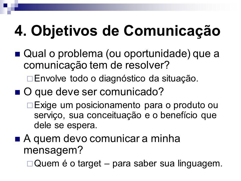 4. Objetivos de Comunicação Qual o problema (ou oportunidade) que a comunicação tem de resolver? Envolve todo o diagnóstico da situação. O que deve se