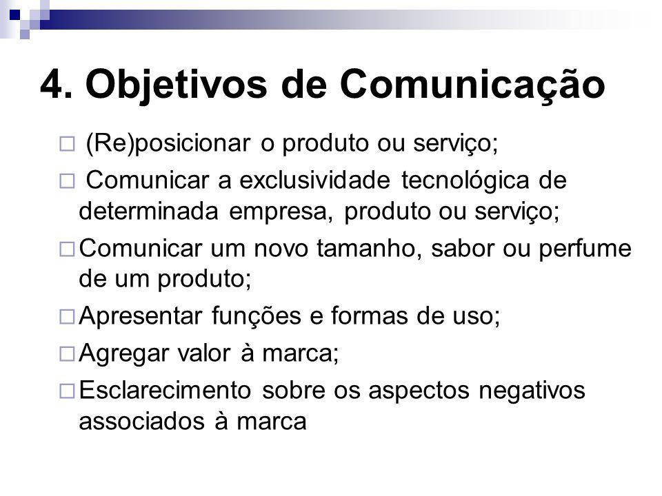 4. Objetivos de Comunicação (Re)posicionar o produto ou serviço; Comunicar a exclusividade tecnológica de determinada empresa, produto ou serviço; Com