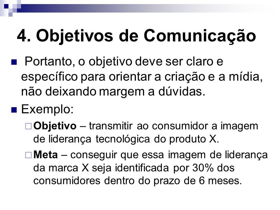 4. Objetivos de Comunicação Portanto, o objetivo deve ser claro e específico para orientar a criação e a mídia, não deixando margem a dúvidas. Exemplo