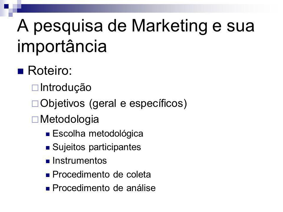 A pesquisa de Marketing e sua importância Roteiro: Introdução Objetivos (geral e específicos) Metodologia Escolha metodológica Sujeitos participantes
