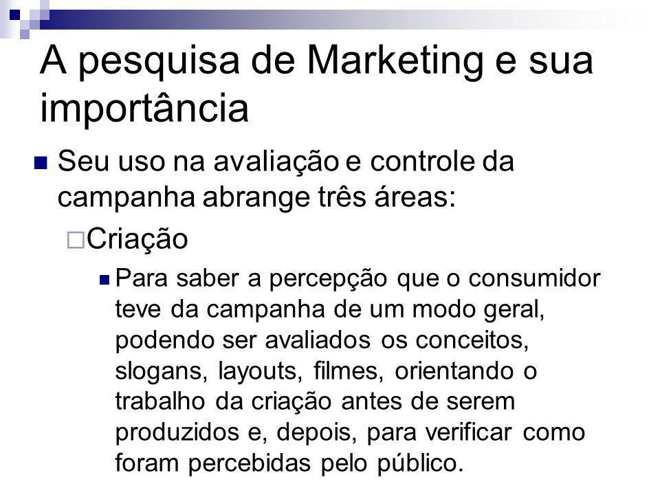 A pesquisa de Marketing e sua importância Seu uso na avaliação e controle da campanha abrange três áreas: Criação Para saber a percepção que o consumi