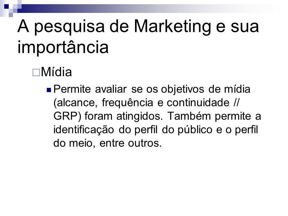 A pesquisa de Marketing e sua importância Mídia Permite avaliar se os objetivos de mídia (alcance, frequência e continuidade // GRP) foram atingidos.
