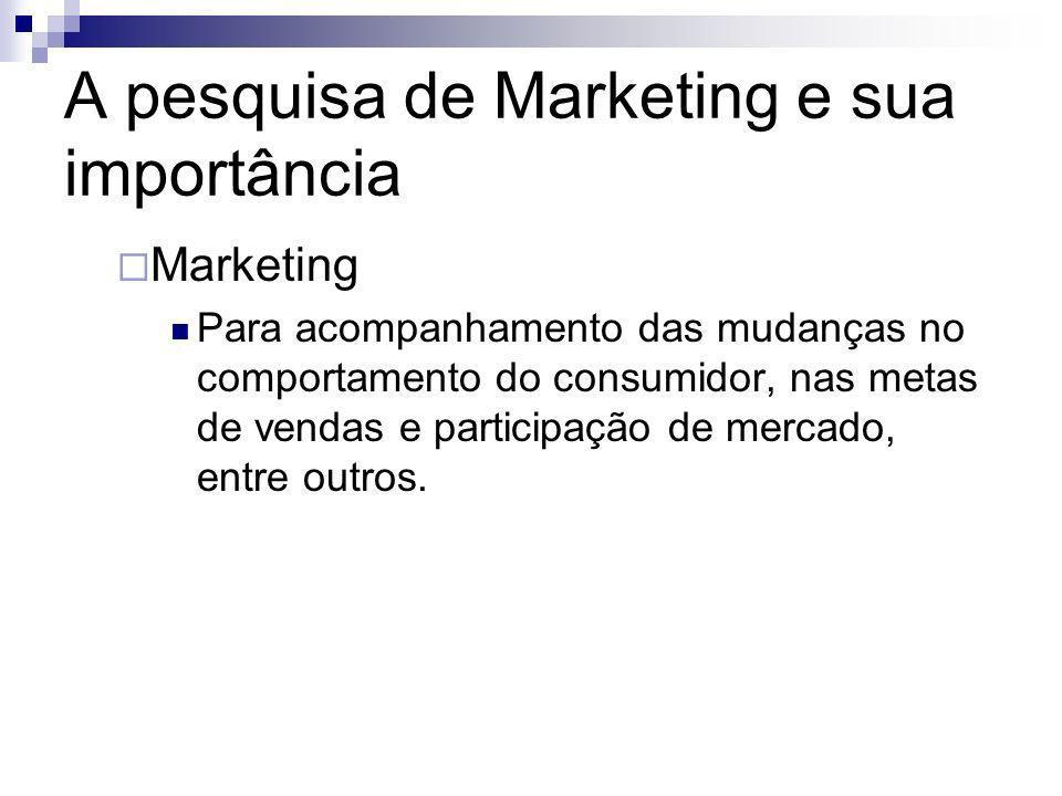 A pesquisa de Marketing e sua importância Marketing Para acompanhamento das mudanças no comportamento do consumidor, nas metas de vendas e participaçã