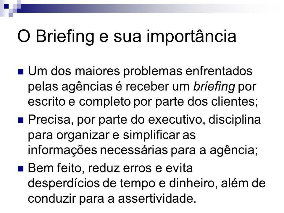 O Briefing e sua importância Um dos maiores problemas enfrentados pelas agências é receber um briefing por escrito e completo por parte dos clientes;