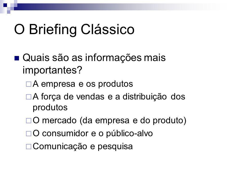 O Briefing Clássico Quais são as informações mais importantes? A empresa e os produtos A força de vendas e a distribuição dos produtos O mercado (da e