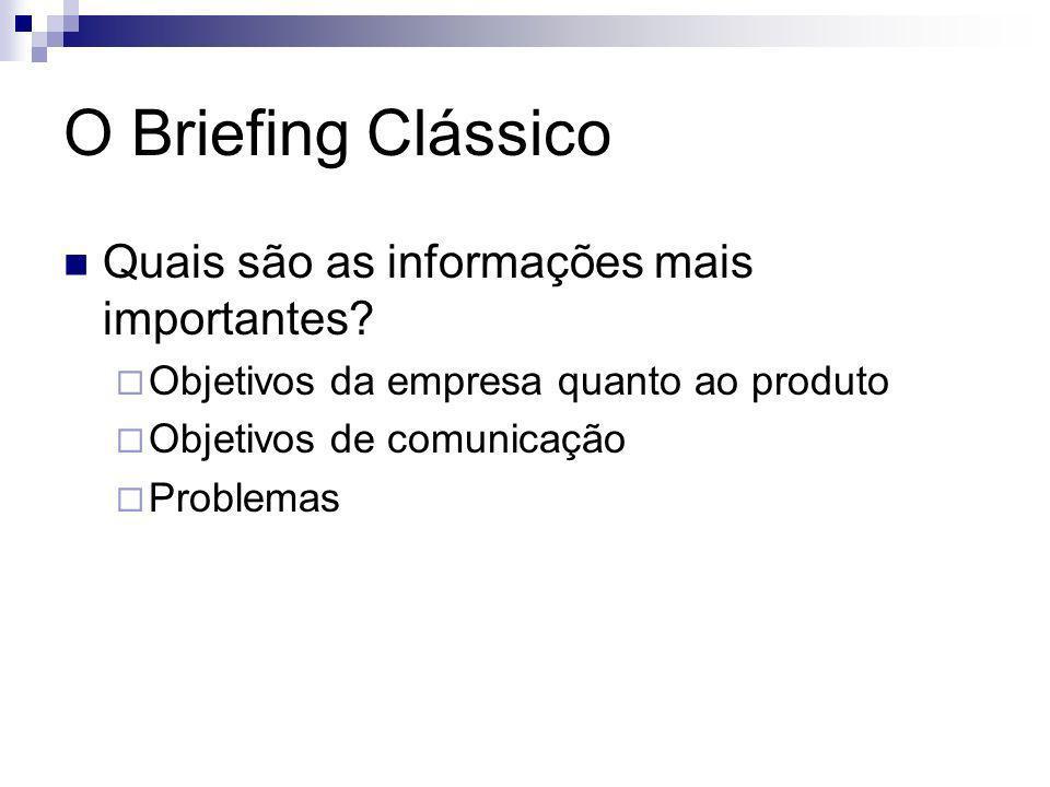 O Briefing Clássico Quais são as informações mais importantes? Objetivos da empresa quanto ao produto Objetivos de comunicação Problemas