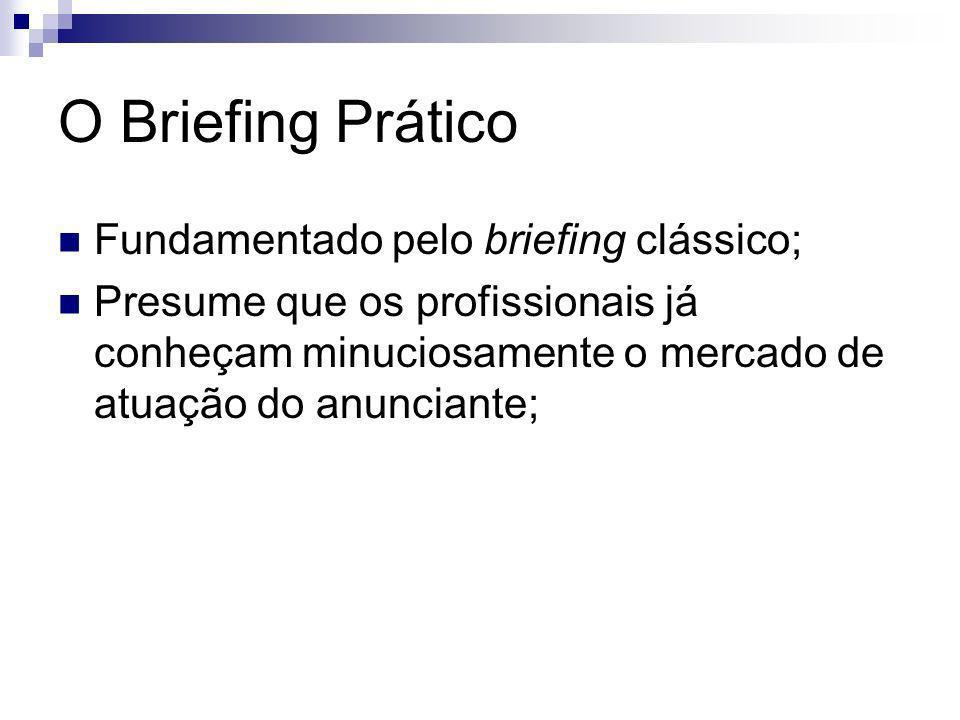 O Briefing Prático Fundamentado pelo briefing clássico; Presume que os profissionais já conheçam minuciosamente o mercado de atuação do anunciante;