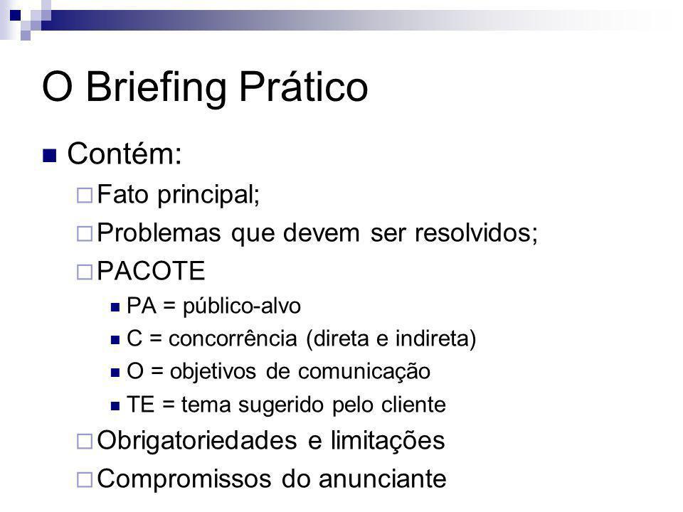O Briefing Prático Contém: Fato principal; Problemas que devem ser resolvidos; PACOTE PA = público-alvo C = concorrência (direta e indireta) O = objet