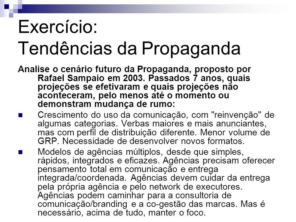 Exercício: Tendências da Propaganda Analise o cenário futuro da Propaganda, proposto por Rafael Sampaio em 2003. Passados 7 anos, quais projeções se e