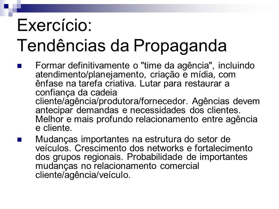 Exercício: Tendências da Propaganda Formar definitivamente o