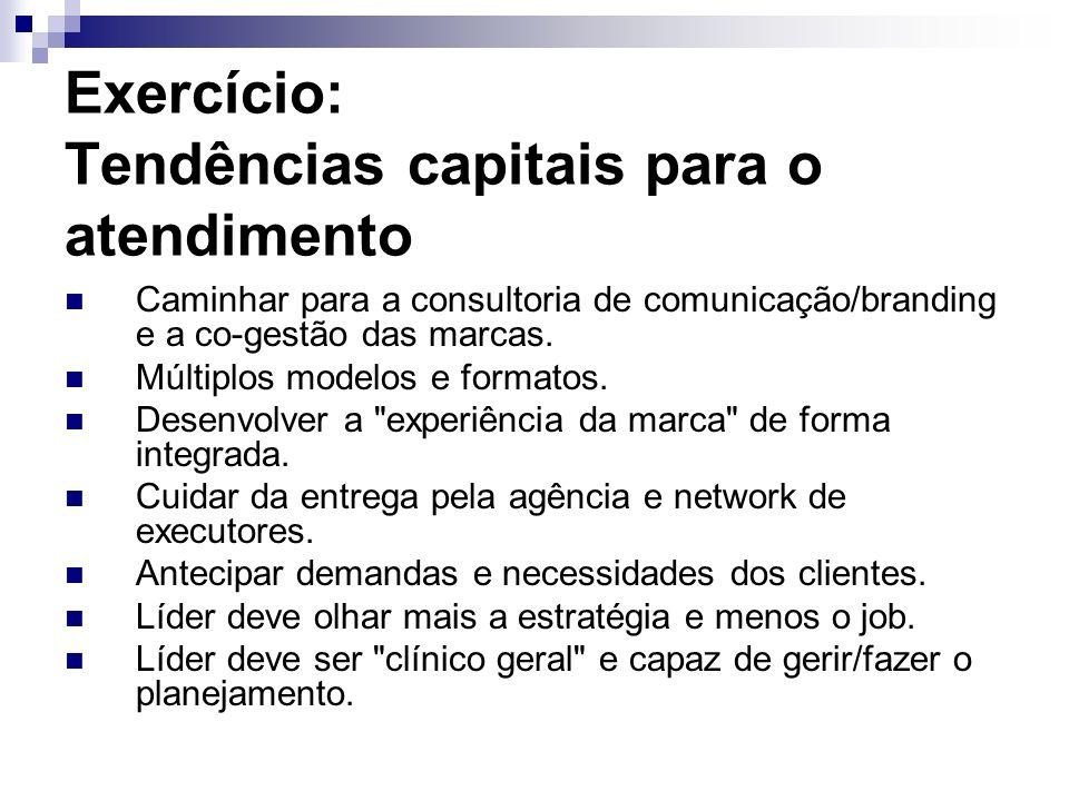 Exercício: Tendências capitais para o atendimento Caminhar para a consultoria de comunicação/branding e a co-gestão das marcas. Múltiplos modelos e fo