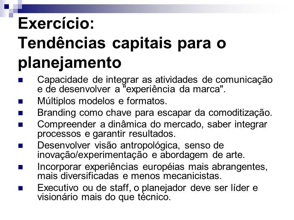 Exercício: Tendências capitais para o planejamento Capacidade de integrar as atividades de comunicação e de desenvolver a