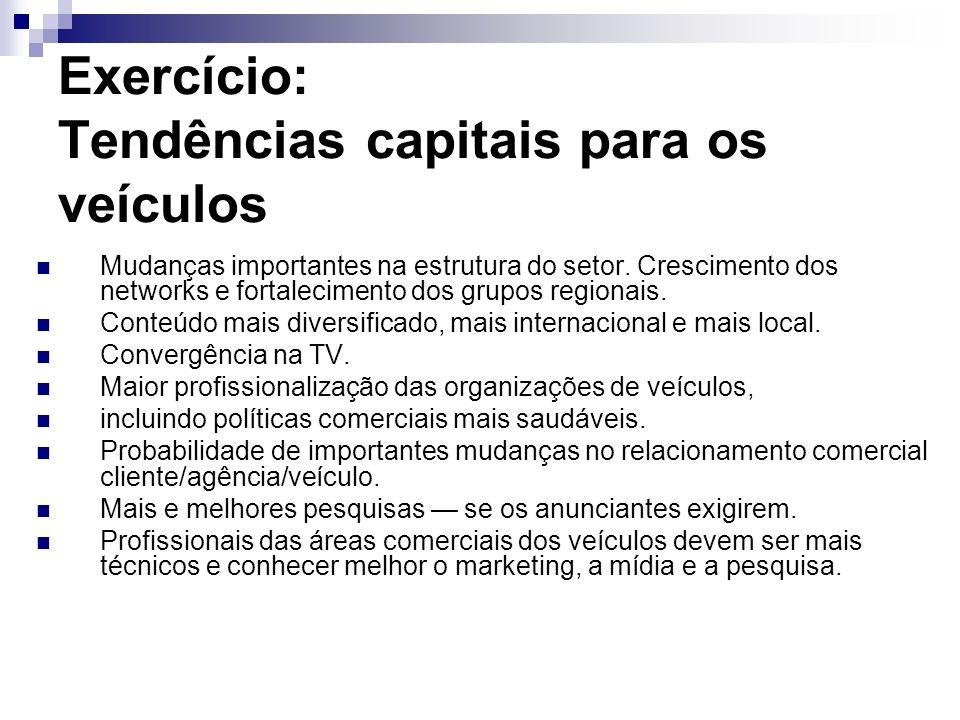 Exercício: Tendências capitais para os veículos Mudanças importantes na estrutura do setor. Crescimento dos networks e fortalecimento dos grupos regio