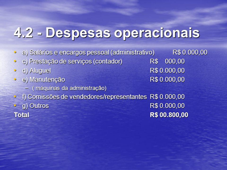 4.2 - Despesas operacionais a) Salários e encargos pessoal (administrativo)R$ 0.000,00 a) Salários e encargos pessoal (administrativo)R$ 0.000,00 c) P