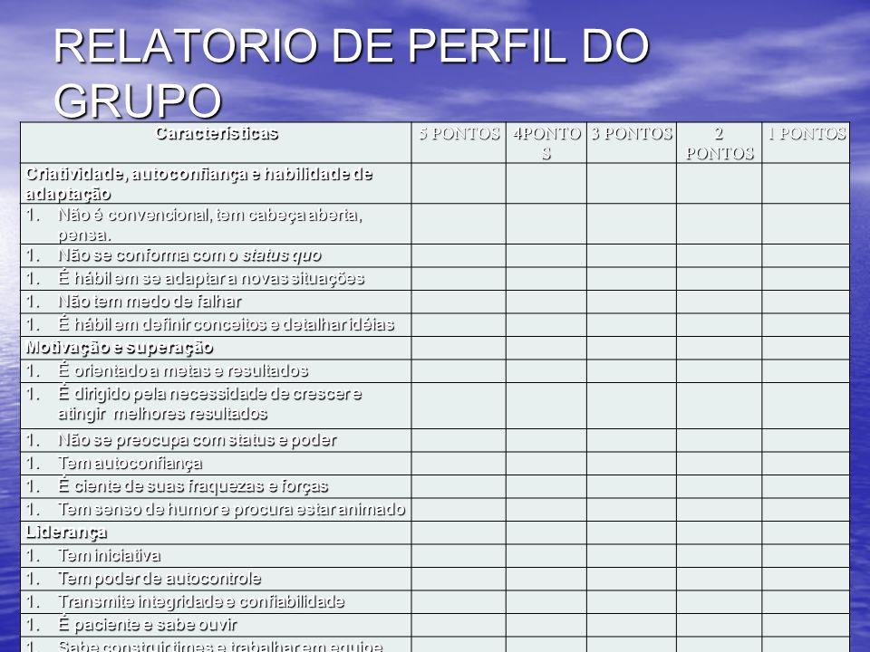RELATORIO DE PERFIL DO GRUPO (CITAR, SE POSSÍVEL, SOMENTE O PRIMEIRO NOME) Características 5 PONTOS 4PONTO S 3 PONTOS 2 PONTOS 1 PONTOS Criatividade,