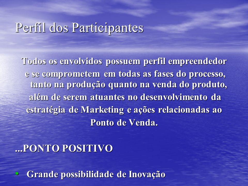 Perfil dos Participantes Todos os envolvidos possuem perfil empreendedor e se comprometem em todas as fases do processo, tanto na produção quanto na v