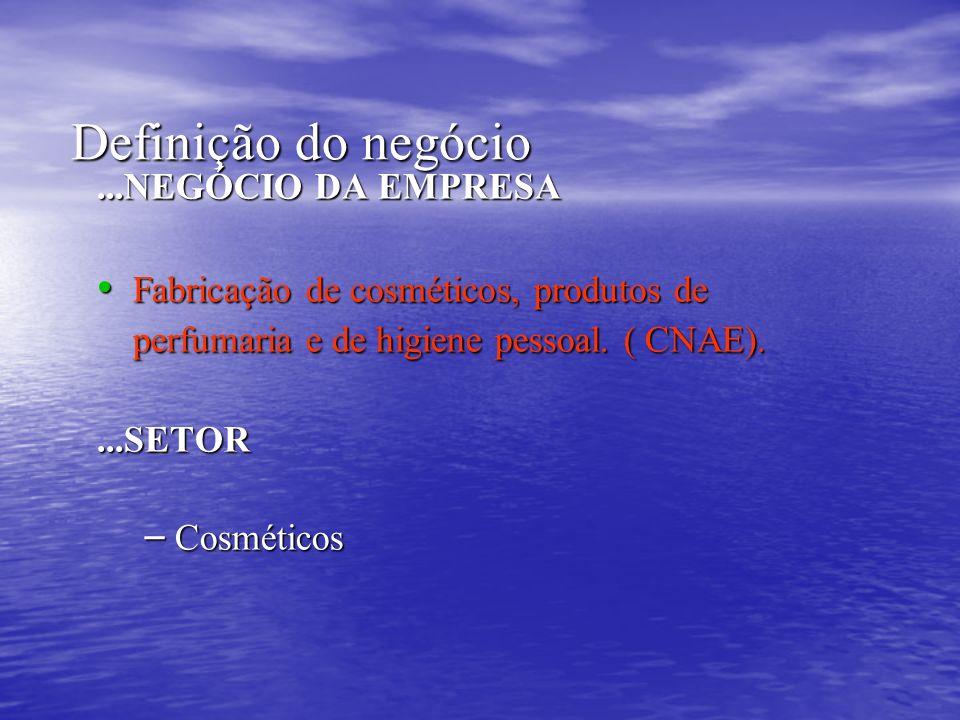 Definição do negócio Definição do negócio...NEGÓCIO DA EMPRESA Fabricação de cosméticos, produtos de perfumaria e de higiene pessoal. ( CNAE). Fabrica