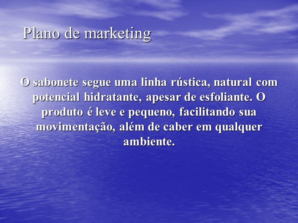 Plano de marketing Plano de marketing O sabonete segue uma linha rústica, natural com potencial hidratante, apesar de esfoliante. O produto é leve e p