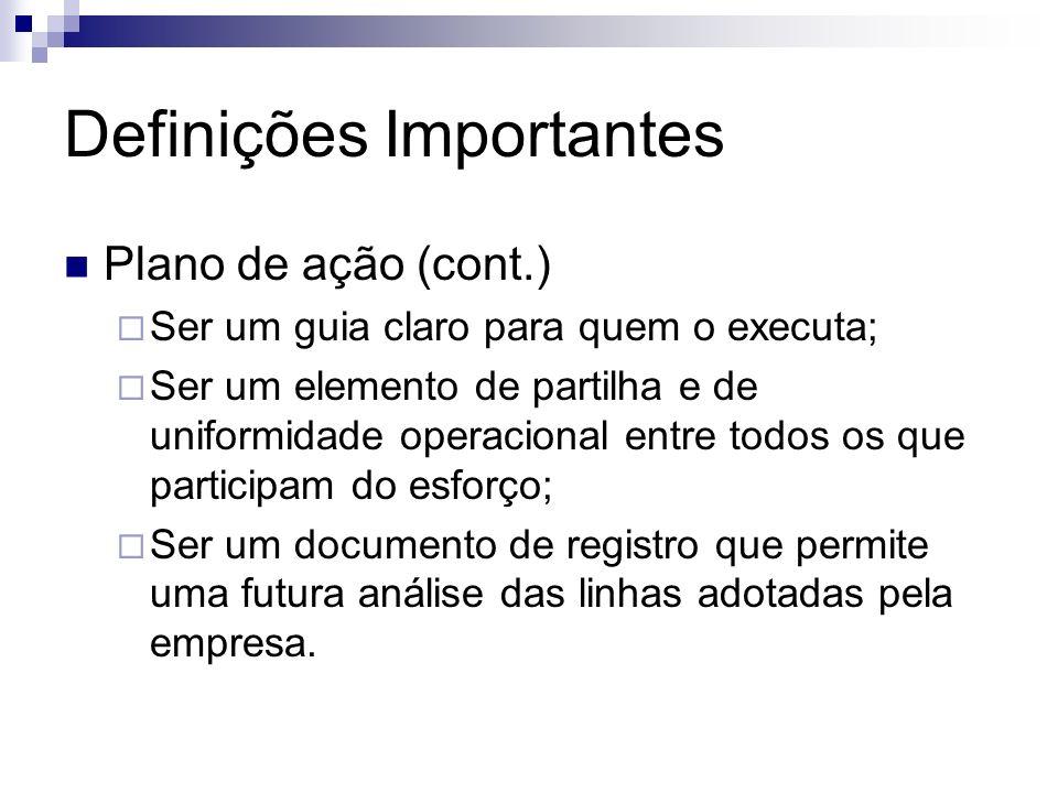 Definições Importantes Plano de ação (cont.) Ser um guia claro para quem o executa; Ser um elemento de partilha e de uniformidade operacional entre to