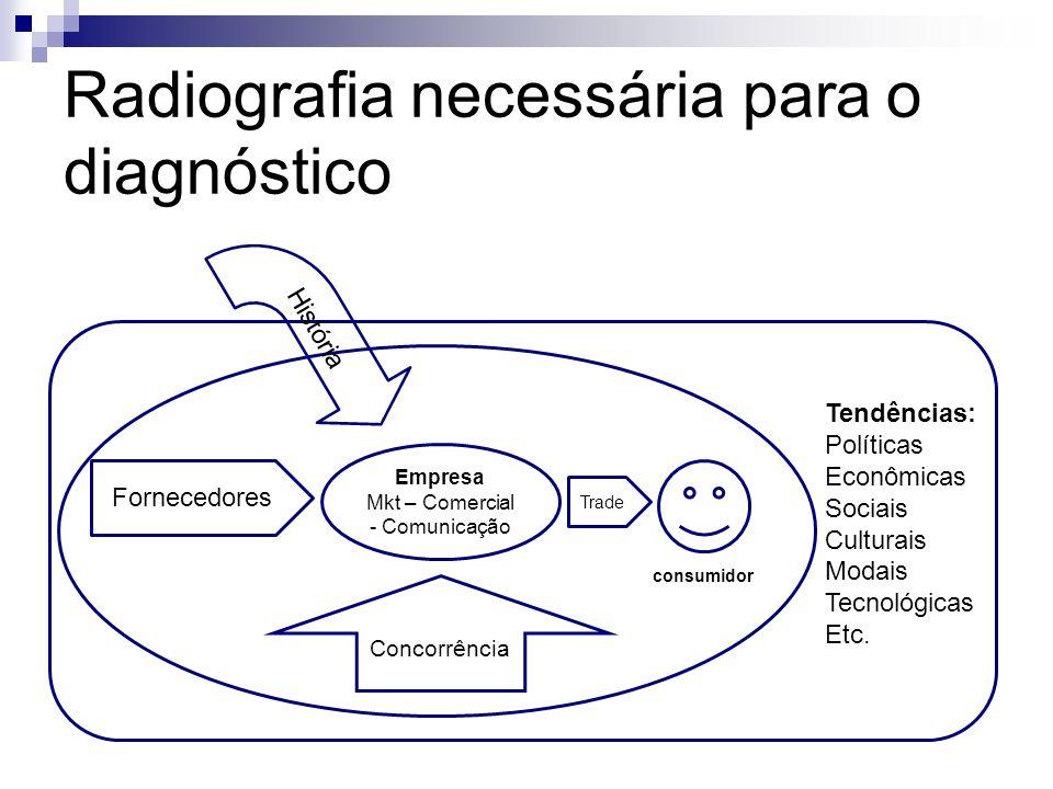 Radiografia necessária para o diagnóstico Empresa Mkt – Comercial - Comunicação Trade Fornecedores Concorrência consumidor Tendências: Políticas Econô