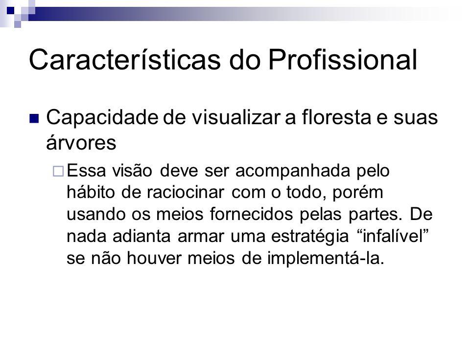 Características do Profissional Capacidade de visualizar a floresta e suas árvores Essa visão deve ser acompanhada pelo hábito de raciocinar com o tod