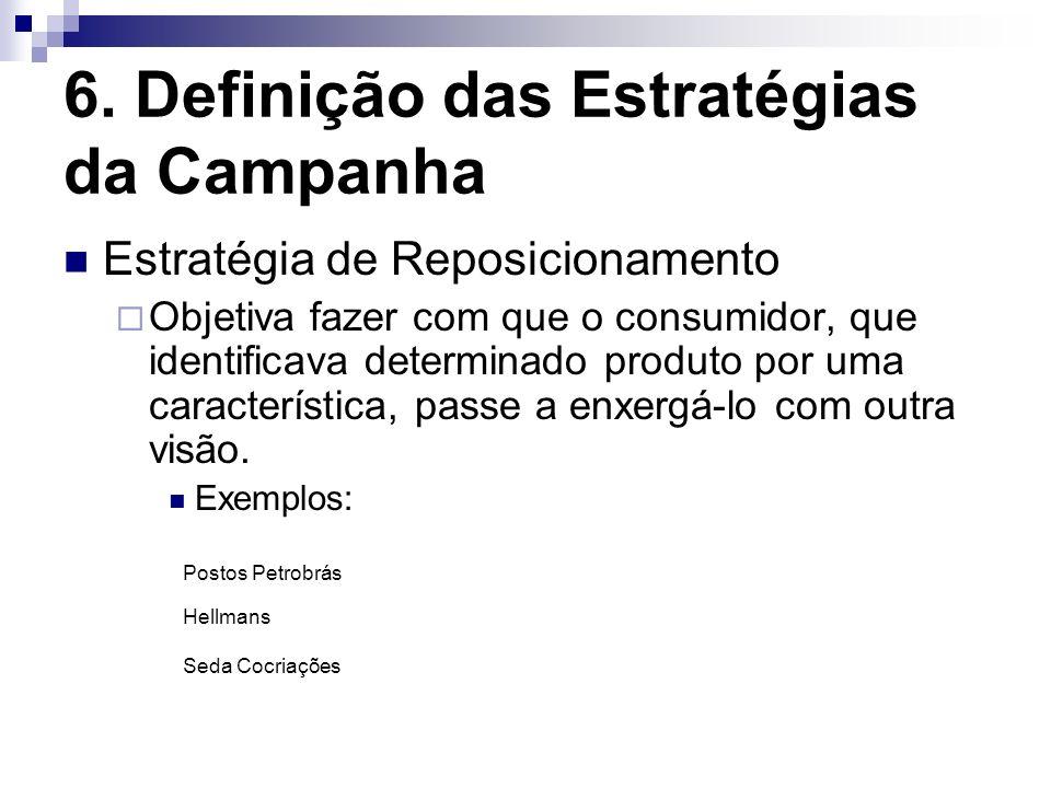 6. Definição das Estratégias da Campanha Estratégia de Reposicionamento Objetiva fazer com que o consumidor, que identificava determinado produto por