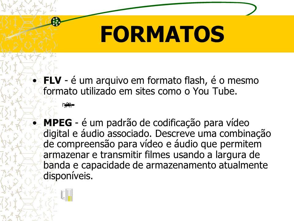 FORMATOS FLV - é um arquivo em formato flash, é o mesmo formato utilizado em sites como o You Tube. MPEG - é um padrão de codificação para vídeo digit