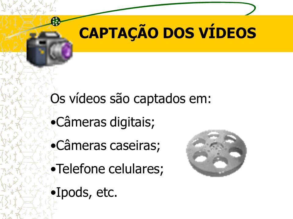 CAPTAÇÃO DOS VÍDEOS Os vídeos são captados em: Câmeras digitais; Câmeras caseiras; Telefone celulares; Ipods, etc.