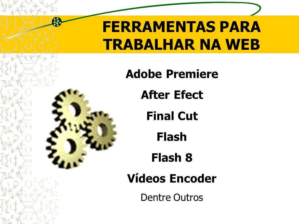 FERRAMENTAS PARA TRABALHAR NA WEB Adobe Premiere After Efect Final Cut Flash Flash 8 Vídeos Encoder Dentre Outros
