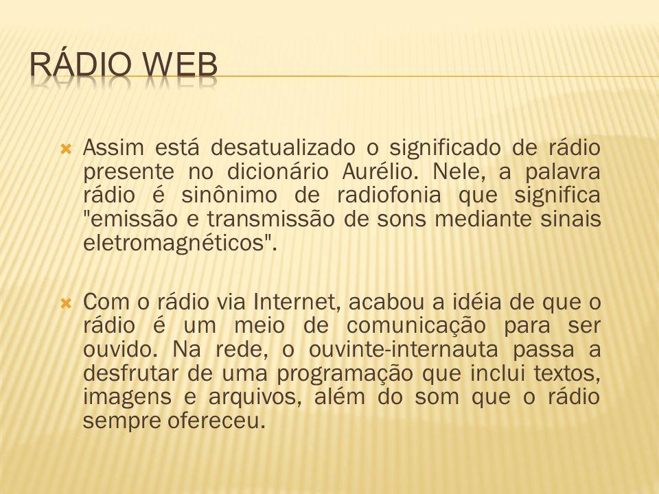 A tecnologia mais usada de transmissão de radio via internet é a streaming.