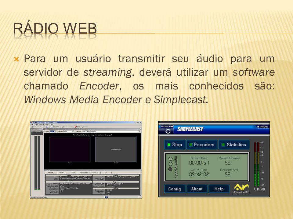 Para um usuário transmitir seu áudio para um servidor de streaming, deverá utilizar um software chamado Encoder, os mais conhecidos são: Windows Media