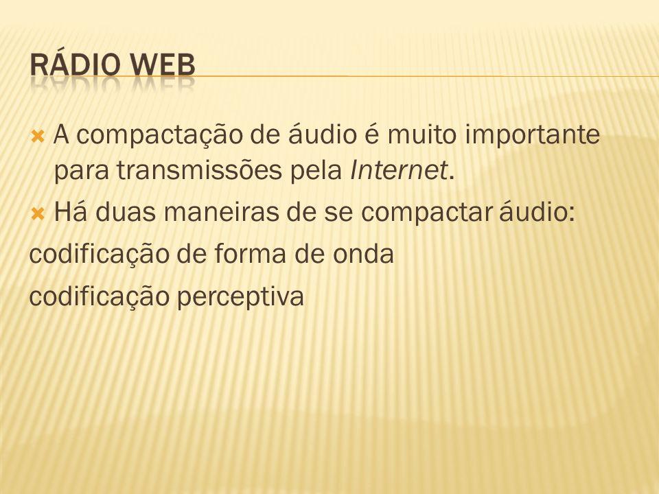 A compactação de áudio é muito importante para transmissões pela Internet. Há duas maneiras de se compactar áudio: codificação de forma de onda codifi